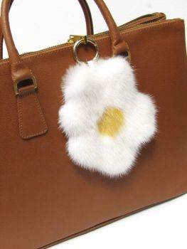 Egg Tassel  real Mink in White and yellow