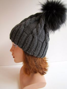 Fox bobble hat made of merino wool with plait pattern grey