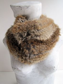 Scarf Fur Loop Knitted in Genuine Rabbit Nature Brown
