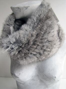 Fur Scarf Fur Loop Knitted in Real Rabbit Natural Grey