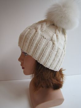 bobble hat made of merino wool with cable pattern cream