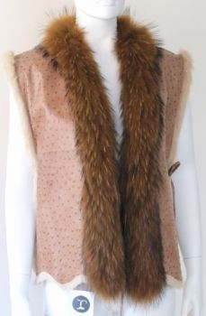 Fur Vest - Reversible Vest, Rabbit - Raccoon Skin
