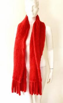 Mink scarf knitted real fur red