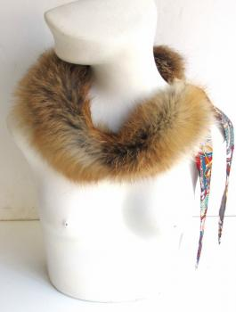Red fox fur collar with silk scarf natural