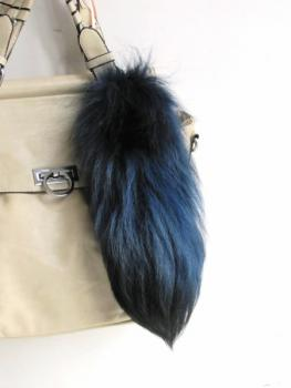 Foxtail bag pendant 'First Fox' silver fox blue