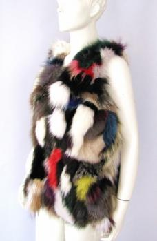 Fox vest real fur from colorful fox skins