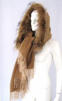 Fur Cape wool scarf caramel with real fur raccoon