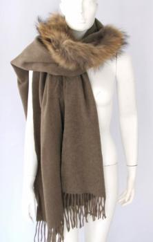Fur, cape, wool, scarf, taupe , raccoon