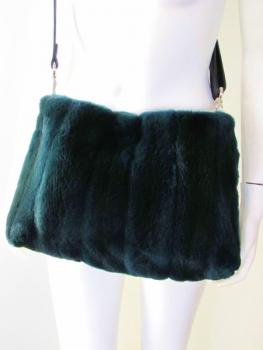 Mink fur bag in the colour petrol