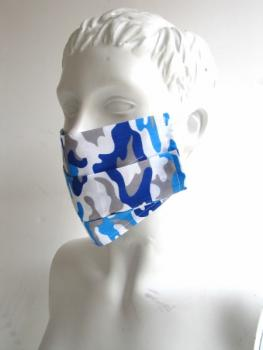Mouth mask and face mask Camouflage Blue