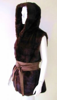 Fur vest mink with hood 38- 40 brown