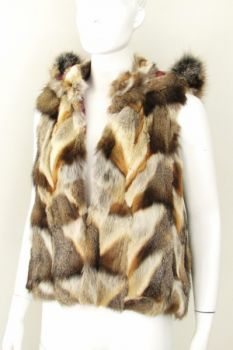 Fur Vest Red Fox with Hood 38- 40 nature