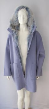 Fur Hooded Cashmere Coat with Genuine Fox Light Blue