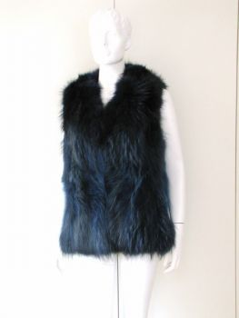 Fox vest real fur of ink blue fox fur