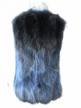 Fox vest real fur blue fox