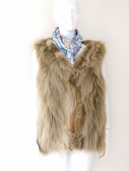 Fox vest real fur from beige fox skins