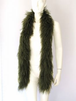Stole fur scarf made of Tibetan lamb green