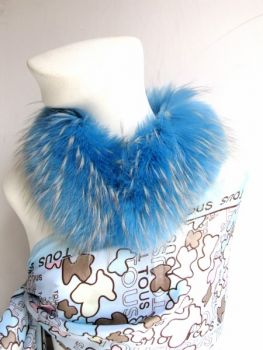 Casual fur collar made of real raccoon fur in baby blue