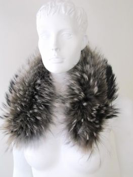 Fur Loop Fur Collar Grey Brown genuine Raccoon Fur