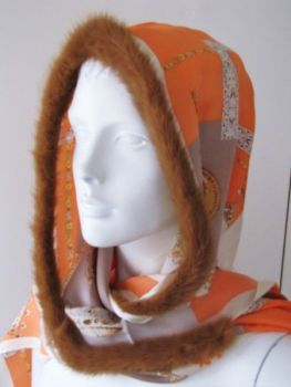 Silk ,scarf ,genuine, fur, mink ,orange