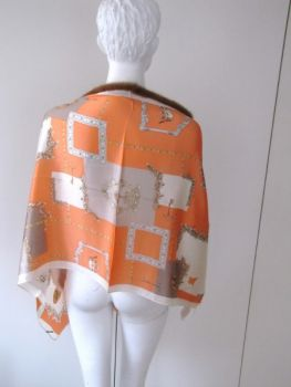 Silk ,scarf ,genuine, fur, mink , caramel