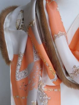 Silk ,scarf ,genuine, fur