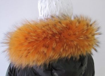 Fur hood Raccoon fur stripes to sew on orange