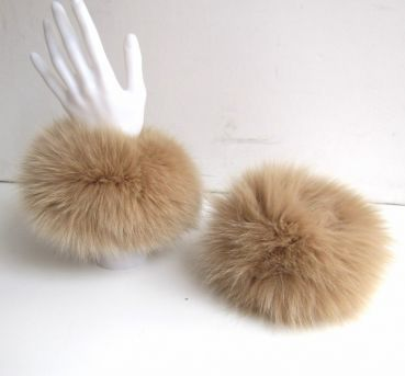 Fox fur cuffs real fox fur Caramel Beige