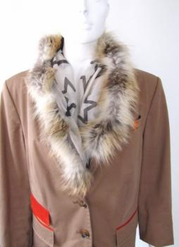 Scarf Stars with real fox fur in beige caramel