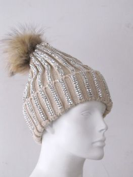 Poodle hat beige rhinestone knitted hat with raccoon fur pompon natural