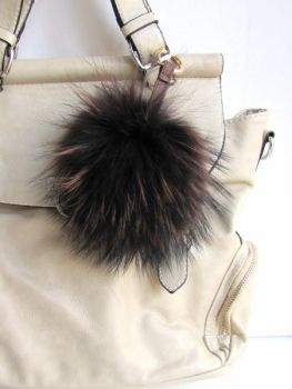 Fur Keyring, brown bag charm