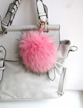 Raccoon Fur Ball Tassel  pink