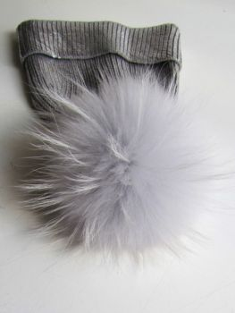 Fur Pompon Bommel Raccoon silver grey
