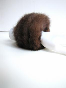 cuffs, genuine, fur ,brown