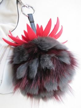 Tassel Fur Handbag Pinberry red anthracite