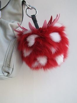 Fur ,Tassel, Handbag ,Pinberry ,red