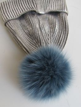 Hats bobble, pompom made of real fox fur in blue.