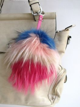 Pocket pendant fox raccoon pompom colorful real fur