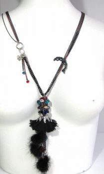 necklace with mink fur pendant colored