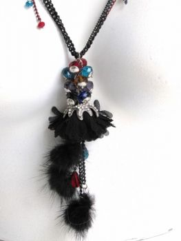 necklace ,mink, fur ,pendant