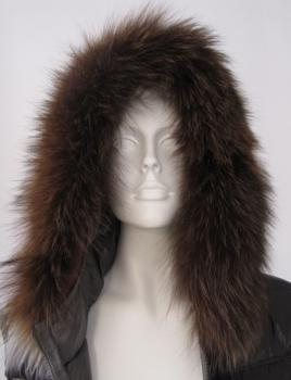 Hooded fur stripes fox fur collar brown