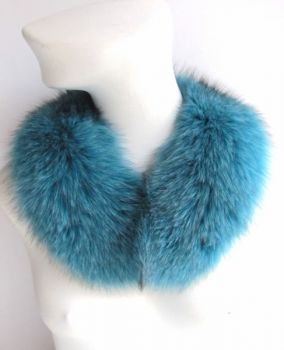Fur collar, fur loop of the premium class fox turquoise