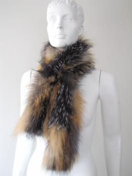 Fur scarf made of genuine silver fox and gold fox