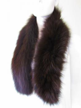Fur scarf made of genuine fox brown