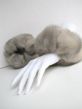 Mink fur cuffs genuine mink fur saphier grey
