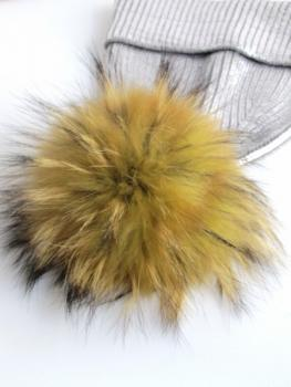 fur bobble yellow from real raccoon fur