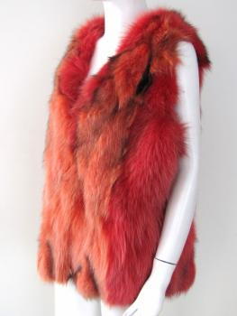 Fox vest real fur from red & orange fox fur