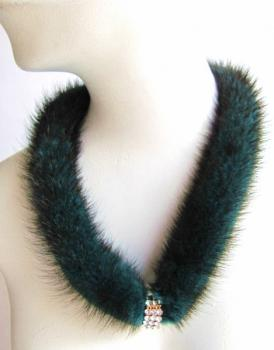 "Mink necklace ""my first ring"" green blue"