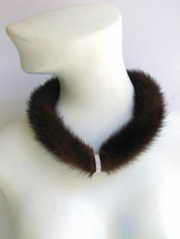 "Mink necklace ""my first ring"" made of real mink fur in pastel brown"
