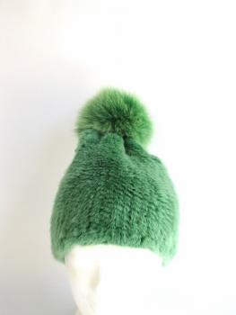 Mink Fur Poodle Beanie with Fox Fur Bobble green